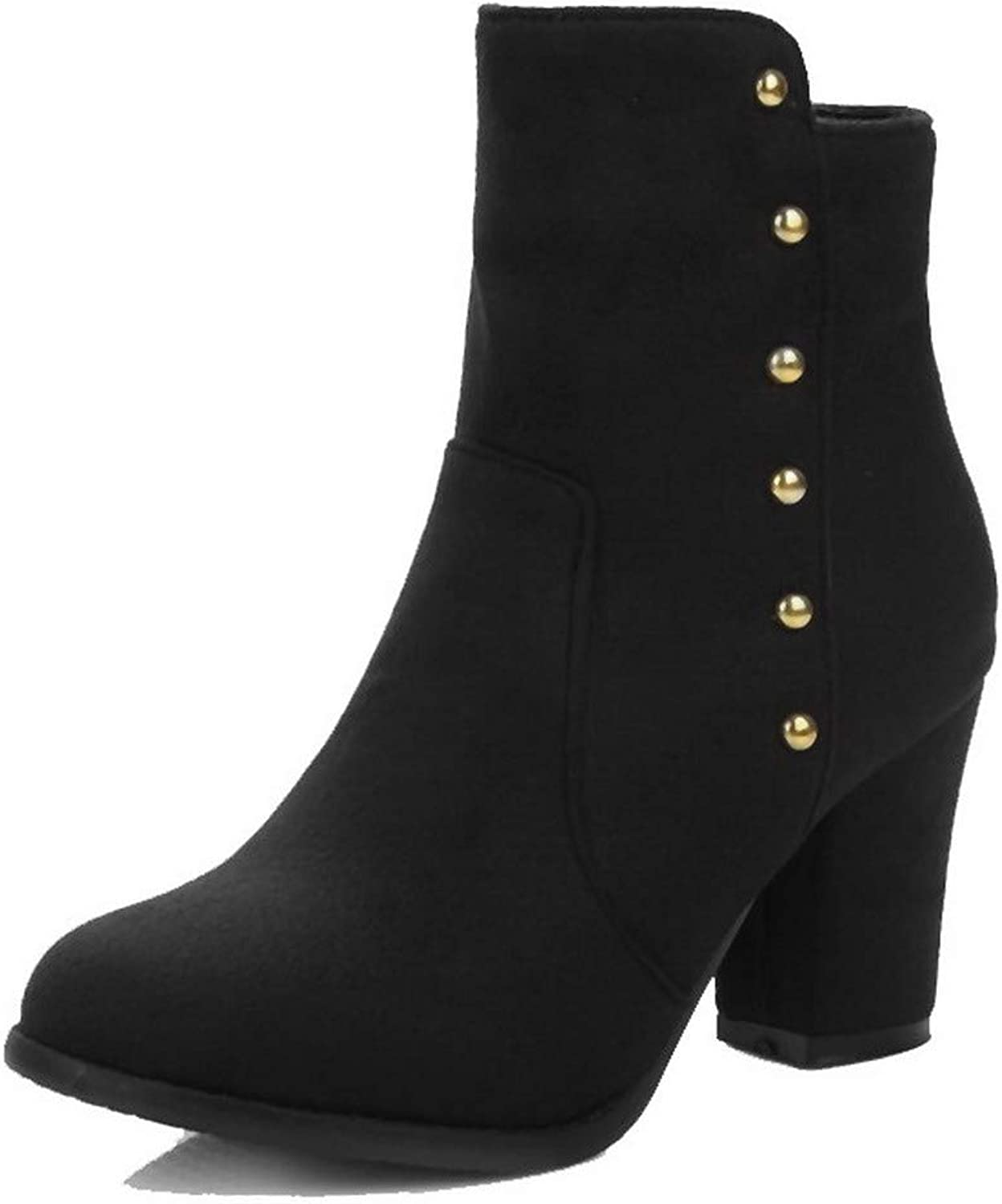 AllhqFashion Women's Zipper High-Heels Imitated Suede Solid Ankle-High Boots, FBUXD121591