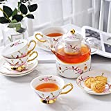 European Flower Teapot Set Heat-Resistant Glass Candle Boiled Tea Flowers Fruit Tea Afternoon Tea Ceramic Tea Sets