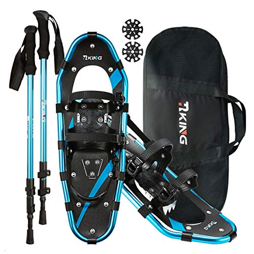 HRKING Mens Snowshoes Set,Youth Snowshoes with Trekking Poles,Carrying Tote Bag Blue 14' /21' /25'/30'
