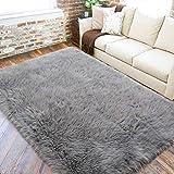 LOCHAS Ultra Soft Fluffy Rugs Faux Fur Sheepskin Area Rug for Bedroom Bedside Living Room Carpet Washable Floor Carpets, 5x8 Feet Gray