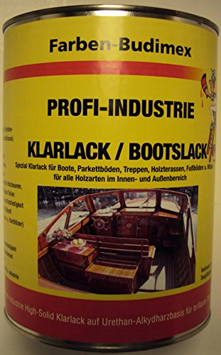 Farben-Budimex Profi-Industrie Klarlack/Bootslack/farblos/seidenmatt / 750 ml/Spezial Klarlack für Boote, Parkettböden, Treppen, Holzterassen, Möbel u.v.m. Lösemittelbasis)