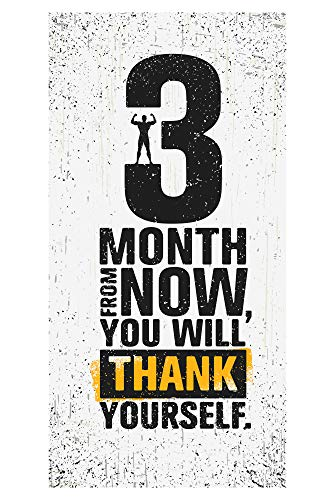 LimeWorks Badetuch, 70x140 cm, Motivations-Sprüche Zitate Quotes für Sport & Fitness - 3 Months from Now, You Will Thank Yourself, Made in EU