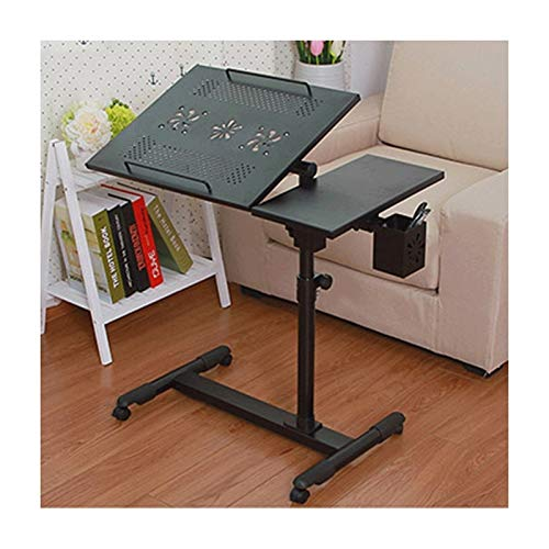 Laptop Desk Standing Height Adjustable Computer Desk Movable With Wheels Portable Side Table For Bed Sofa Portable Side Table (Color : Black K)