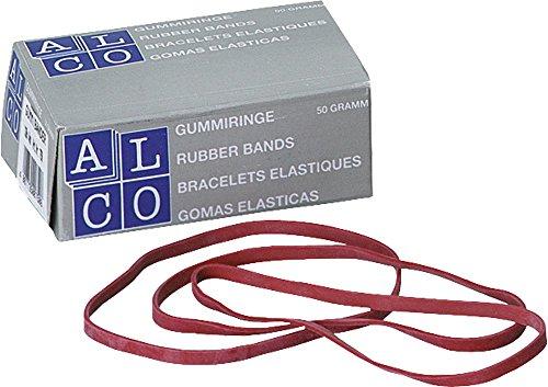 Gummibänder, Inhalt 50g, 80mm breit, 4mm lang, rot