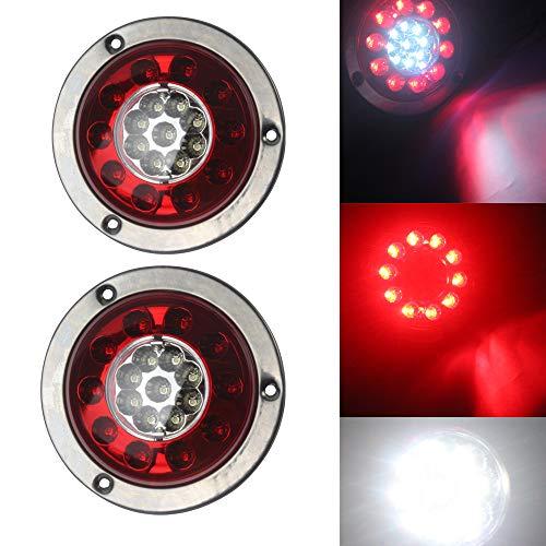 HEHEMM Lot de 2 feux stop ronds 19 LED Rouge et blanc avec anneau plaqué argent pour voiture, camion, moto remorque (10–30 V)