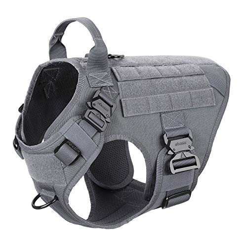 ICEFANG Tactical Dog Harness,K9 Working Dog Vest,No Pulling Front Clip Leash Attachment (M (25'-30' Girth), Wolf Gray-4x Metal Buckle)