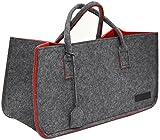 DuneDesign Borsa 50x25x25cm cesta per la Legna Spesa Max 25Kg Grigio Rosso