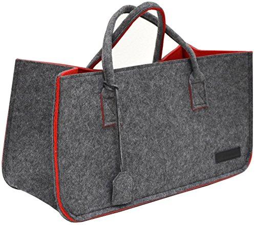 DuneDesign Bolsa de Fieltro sintético 50x25x25cm para leña Compra 25kg Gris Rojo