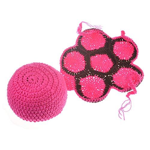 NO BRAND Disfraz de Accesorios de fotografía para recién na Baby Costume Prop Baby Photo Prop Outfit Ropa Tejido Crochet Fotografía Vestido Hecho a Mano-Verde/Rosa Cómodo (Color : Pink)
