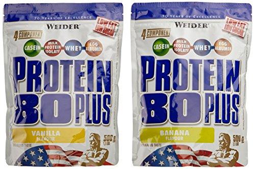 Weider Protein 80 Plus Beutel 2er Mix Pack, Vanille/Banane, 2 x 500 g (1 x 1 kg)
