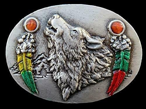 Wolf Award-winning store Wolves Feather Native Indian Max 51% OFF Buckle Belt Buckles Animal