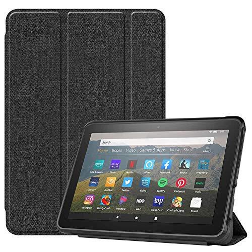 HHF Pad Accesorios para Amazon Fire HD 8/8 Plus 2020, Smart Tablet Flip Funda de Cuero PU Stake Auto Wake/Sleep Capacidad Protectora Ultra Delgada para Amazon Fire HD 8/8 Plus 2020 (Color : Negro)