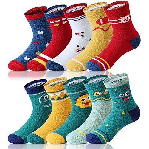 Adorel Jungen Socken Knöchelhoch Babysocken 10er-Pack Monster und Schweinchen 6-10 Jahre (Herstellergr. XL)