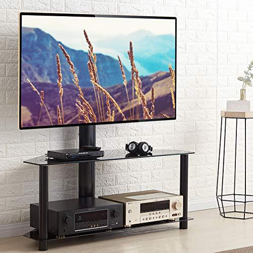 RFIVER Universal TV Ständer 110 cm breit für 32-65 Zoll Fernsehtisch Glas Fernsehständer Rack Tisch Fernsehschrank Eckschrank Möbel Ecke Schwenkbar Höhenverstellbar mit 2 Platten Schwarz TW1005