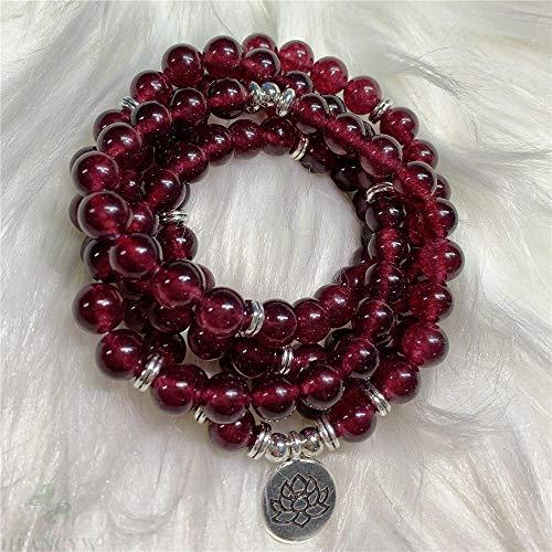 L-YINGZON Collares 8mm Rojo Granate Lotus Colgante 108 Bead Mala Pulsera elástica Ora Colorido Hecho a Mano Elegante Elegante meditación muñeca clásico Joyas