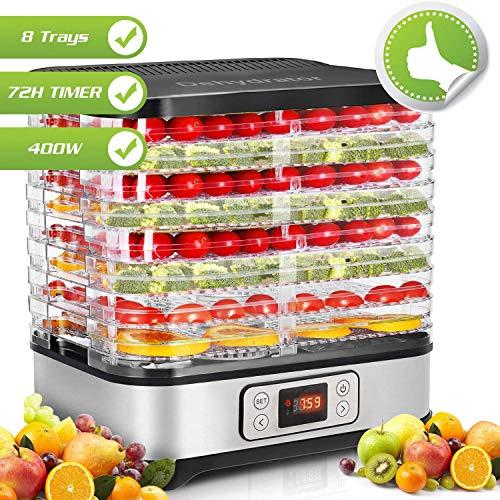 Lichire Dörrautomat,72-Stunden-Timer,Dörrautomat für Fleisch und Früchte,LCD-Display,8 Paletten,Dörrautomat mit temperaturregler, Einstellbare Temperatur (35 ° C-70 ° C),400 W