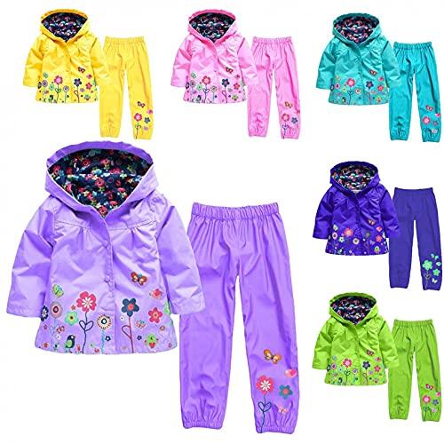 YQSR Chaqueta impermeable para niños de corta edad con capucha impermeable y pantalón