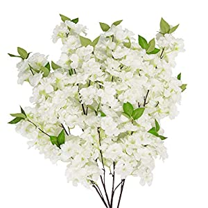 U'Artlines 3PCS Cherry Blossom Branches Artificial Sakura Cherry Blossom Long Stem Garland Silk Flower Arrangements for Wedding Party Home Vase Decor (39 Inch, White)