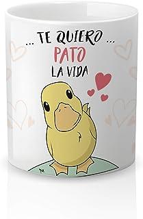 Yujuuu! | Taza cerámica Original Amor. Resistente 100% al microondas y lavavajillas. Taza con Frase Te Quiero Pato la Vida.
