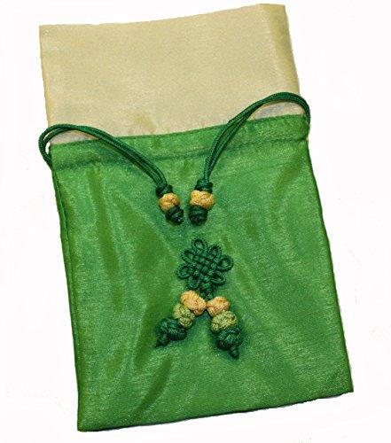 Schmuckbeutel aus Seide, mit Kordelzug, handgeknüpfte Dekoration, Grün und Beige
