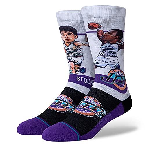 Stance Men's NBA Utah Jazz Malone Stockton Big Head Socks Black M