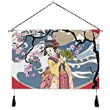 MOBEITI Cartel de Lona para Colgar en la Pared,Póster Tradicional japonés de Onda Kimono de Mujer Japonesa,Kit de Pintura para decoración de Oficina en casa con póster Colgador, 17.5'× 24.5'