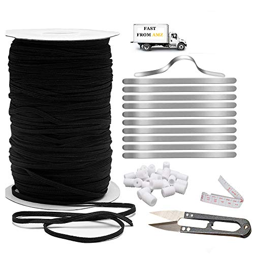 TopLAD 110 Yards 5mm Black Elastic Strings for Masks Making Braided Elastic Roll Bands for Sewing with100pcs Nose Bridge Strip and 20 pcs Cord Locks