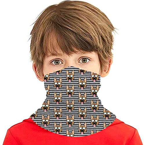 hdyefe Pastor alemán (rayas negras sobre gris con gafas) niños cubierta diadema sin costuras bufanda pasamontañas
