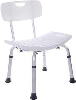 シャワーチェア 背もたれ付き 座面高さ調節可 お風呂 浴室用椅子 軽量 白色