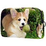 Kosmetiktasche Damen Federmäppchen Stiftetasch Schminktasche Kulturtasche für Handtasche Makeup Tasche Waschtasche Mädchen EIN rennender Hund mit einem Ball im Mund