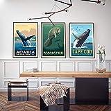 HUANGXLL Cartel de avistamiento de Ballenas del Parque y Centro de observación de manatíes de Apollo Beach Florida Impresión de Lienzo Imagen de Sala de Estar Decoración-40x60cmx3Pcs-Sin Marco