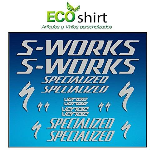 Ecoshirt E3-JF7M-EV9M Aufkleber Bild Frame Sworks S-Works Venge Pro Vias Am31 Stickers Aufkleber Decals Adesivi Bike BTT MTB Cycle, Silber