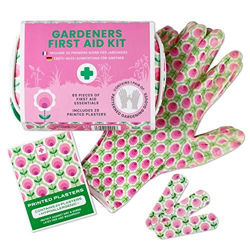 Yellodoor Mini Erste Hilfe Set – für den Garten, 85-teilig, mit Gartenhandschuhen, in wasserdichter Tasche, mit Pflaster, Bandagen, Schere, Desinfektionstüchern, UVM, 100% vegan
