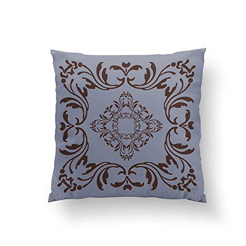WH-CLA Pillowcase Modelo del Damasco De Color Marrón Oscuro | Fondo Gris Pizarra Sofá 45X45Cm Impresión A Doble Cara Funda De Almohada Decorativa Bonita Funda De Almohada Cremallera Pers