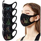 Gerichy Holiday Facemask for Adults, Christmas Sparkly Rhinestone Face_Mask Bling Crystal Masquerade Christmas Party Nightclub Mouth Covering for Women Girls
