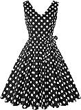 Black and White Polka Dot Dress 50S Retro Rockabilly Vintage Cocktail Dress Sleeveless V Neck Tea Party Dress Pockets