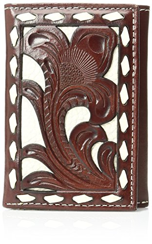 Nocona Men's Floral Bone Buck Inlay Trifold, Tan, One Size
