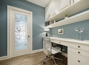 SANS Soucie - / Interior Door - Wandering White Tail - 1D Pinstripe Frosted - Wildlife / Primed