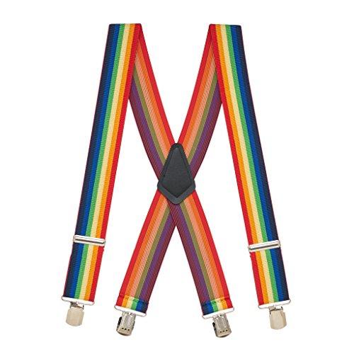 SuspenderStore Men's RAINBOW 2-Inch Wide Pin Clip Suspenders