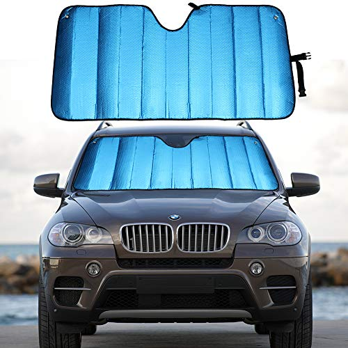 """MCBUTY Windshield Sun Shade for Car Blue Thicken 5-Layer UV Reflector Auto Front Window Sunshade Visor Shield Cover and Keep Your Vehicle Cool(57"""" × 27.5"""")"""