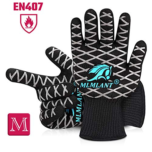 MLMLANT BBQ Gloves Extreme Heat Resistant,BBQ Tools Cooking Oven Grilling Gloves with Fingers High up to 800 ℃ / 1472 ℉, Grill Gloves with EN407 Certified for BBQ, Grill, Baking, Welding, Black-2 Pcs