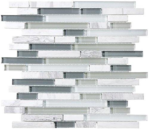 10 Square Feet - Bliss Iceland Marble and Glass Linear Mosaic Tiles - Bathroom Walls/Tub Surround/Kitchen Backsplash