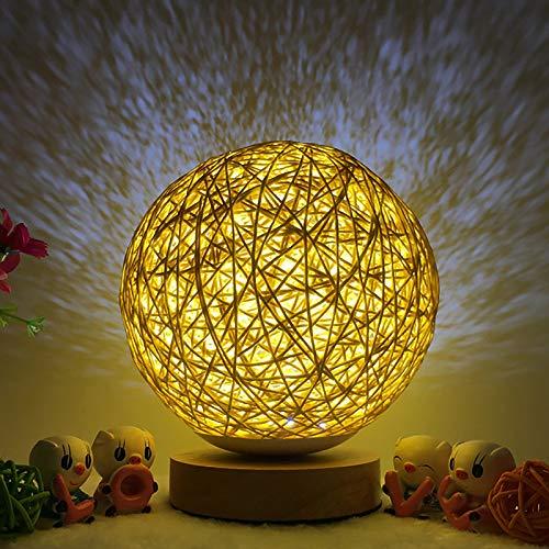 Lámpara de mesa de madera LED, SUNASQ Luz de noche de noche de bola esférica de ratán de madera creativa con pantalla de lámpara tejida a mano Lámpara de noche decorativa de dormitorio.
