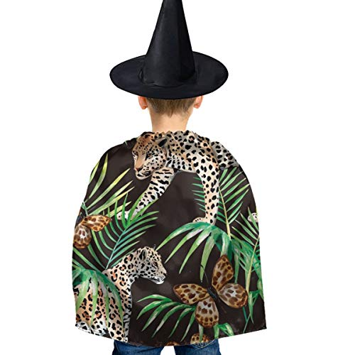 Amoyuan Unisex Kids Kerst Halloween Heks Mantel Met Hoed Goud Zwart Jungle Vlinder Panter Wizard Cape Fancy Jurk