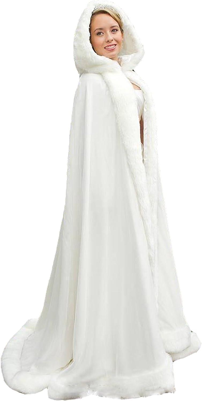 ZVOCY Women's Winter Wraps Cape Faux Fur Bridal Wedding Shawl Coat Suit Bridal Cloak