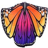 Mujeres Poliéster Slinga de la mariposa Animales Alas Alas Rotación Accesorios del partido del cabo para niñas Señoras Cosplay Fiesta de disfraces (Diamantes impresos adultos con grandes mariposas, im