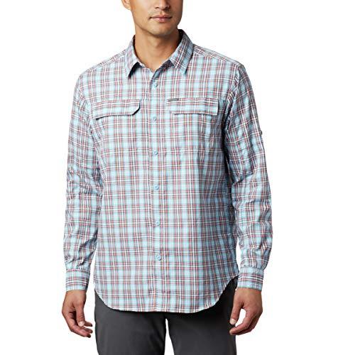 Columbia Men's Silver Ridge 2.0 Plaid Long Sleeve Shirt, Uv Sun Protection, Clear Water Gingham, Large