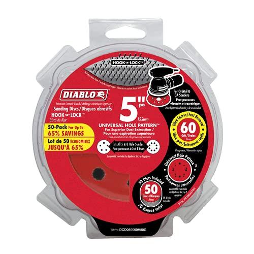 Diablo DCD050060H50G 5 in. 60-Grit Universal Hole Random Orbital Sanding Disc (50-Pack)