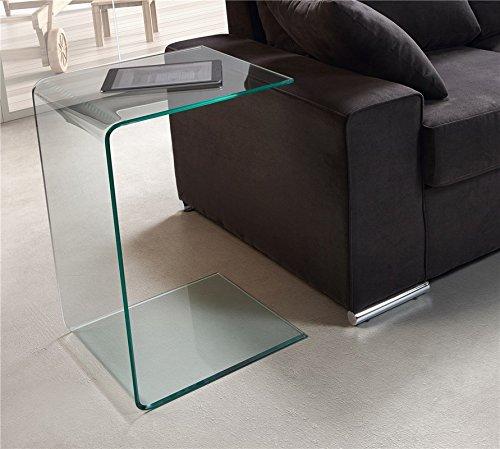 PEÑA VARGAS - C&C - Mueble Auxiliar - Mesa de Rincón Cristal Transparente (40X40X60)