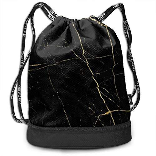Casual Drawstring Backpack Waterproof Lightweight Sackpack, Black Gold Marble Drawstring Bag Gymsack for Sport Gym Swim Yoga Travel Camping Training